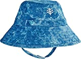 Coolibar UPF 50+ Baby Cotton Cap - Sun Protective (6-12 Months- Blue Water Print)