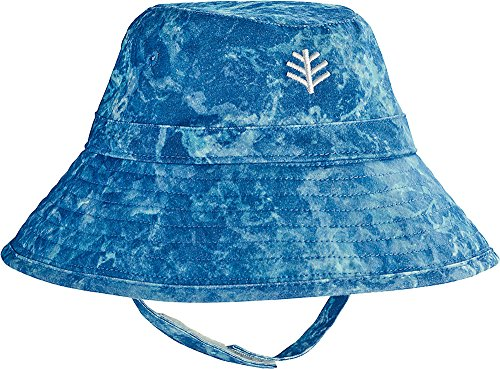 Coolibar UPF 50+ Baby Cotton Cap - Sun Protective (6-12 Months- Blue Water Print) by Coolibar