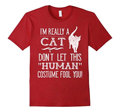 [Men's I'm Really a Cat Human Funny Halloween Costume T-Shirt 3XL Cranberry] (Funny Human Cat Costumes)