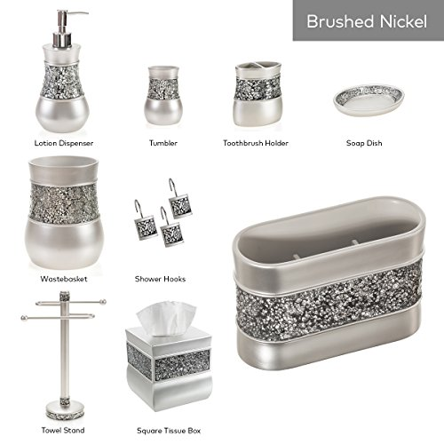 Creative Scents Bathroom Accessories Set, 4 Piece Bath Ensemble, Bath Set Collection Features Soap Dispenser Pump, Toothbrush Holder, Tumbler, Soap Dish- Gray - Silver Mosaic Glass by Creative Scents (Image #3)