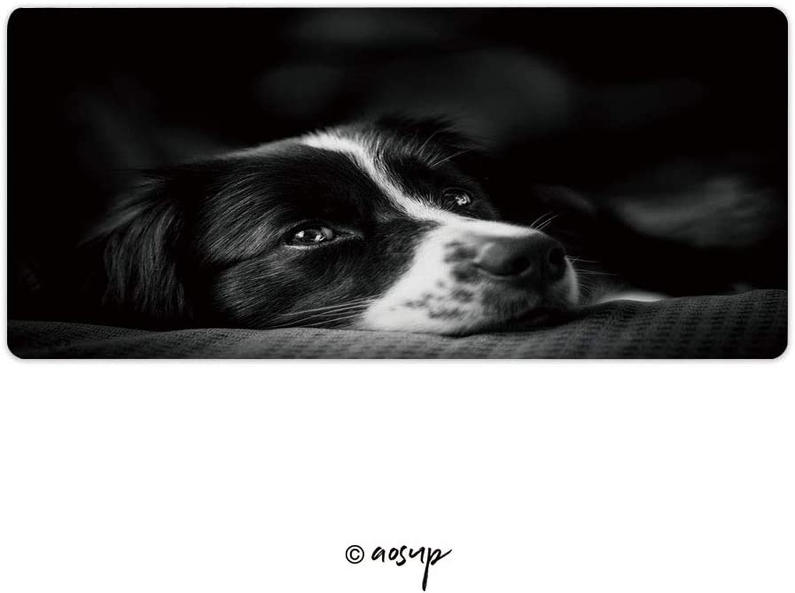 Emotion Photo Black and White Border Collie Custom Design Stitched Edges Waterproof Non-Slip Rubber Base Mousepad 23.6 x 11.8 NO-53818 Homenon Professional Gaming Mouse Pad