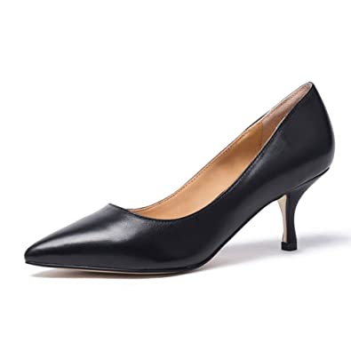 3897759b19 Womens Mid Kitten Heel Pointed Toe Court Shoes Ladies Smart Party Prom  Office Work Pumps Comfortable
