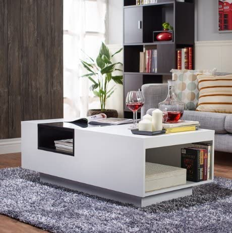 Cheap ModHaus Living Modern Wood Tempered Glass Top Accent Coffee Table living room table for sale