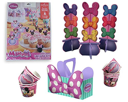 Minnie Mouse Table Decorations, Snack Caddy, Food and Drink Labeling Kit and Snack Cup - Bundle Labeling