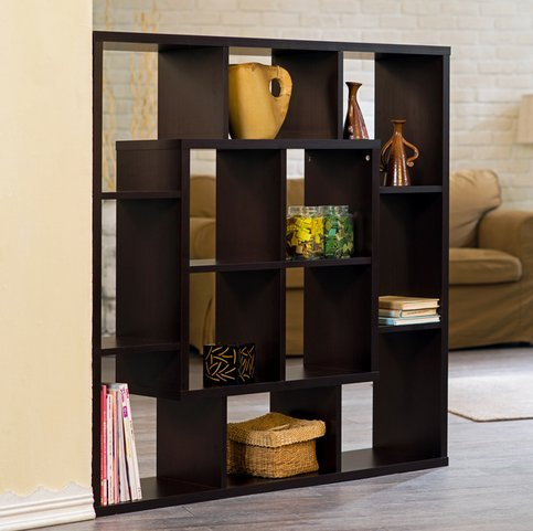 Furniture of America Aydan Contemporary Modern Square Walnut Living Room Display Shelf Bookcase Room Divider by Furniture of America (Image #2)