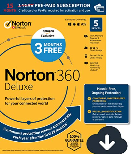 EXCLUSIVE Norton 360 Deluxe - Antivirus software for 5 Devices with Auto Renewal - 15 Month Subscription - 3 Months FREE - Includes VPN, PC Cloud Backup & Dark Web Monitoring powered by LifeLock - 2020 Ready [Download]