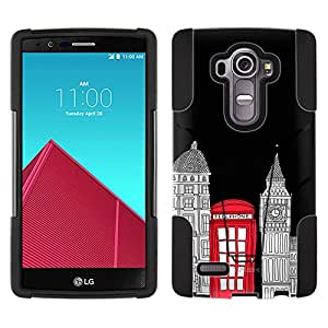 LG G4 Hybrid Case London Red Telephone Booth 2 Piece Style Silicone Case Cover with Stand for LG G4
