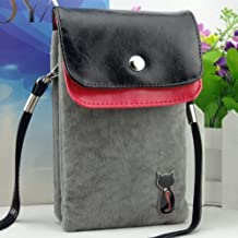Big Mango Multipurpose Cute Cat Design Two separated Pouches Cell Phone Soft Fuzz and PU Leather Bag Crossbody Purse for Apple Iphone 4 4s Iphone 5 5s 5c Samsung Galaxy S4 S3 Galaxy Note 2 HTC Money Key Cards with Shoulder Strap & Magnetic Snap Buttom Closure ( Grey )