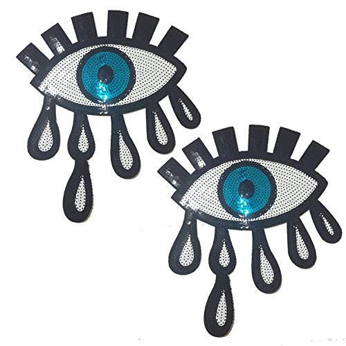 Patch Sequin (Special100% 2 PCS Large Blue Eyes Patches,Iron On Patches Or Sew on for clothing Glitter Sequin Embroidered, Blue sequins Patches DIY Motif embroidered applique Craft)