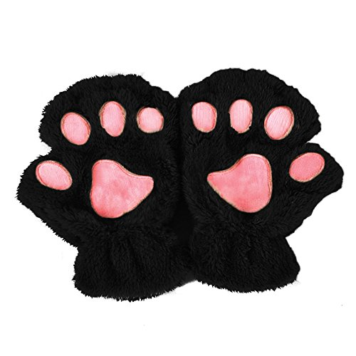 Doober Women Winter Fluffy Bear Cat Glove Half Finger Cute Gloves Mittens (Black)
