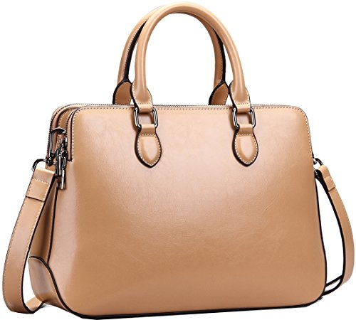 Heshe Leather Womens Handbags Totes Top Handle Shoulder Bag Satchel Ladies Purses (Cracker Khaki-r) - Genuine Leather Doctor Style Handbag