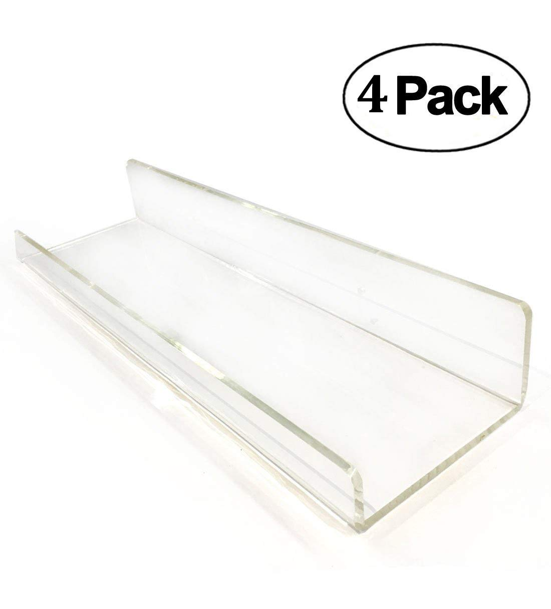 4 clear heavy duty floating shelves acrylic bathroom shelf sets contemporary 6207924259543. Black Bedroom Furniture Sets. Home Design Ideas