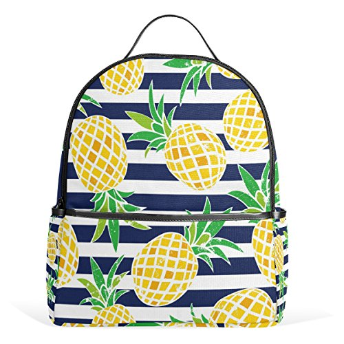 Use4 Striped Pineapple Fruit Retro Polyester Backpack School Travel Bag by ALAZA (Image #1)
