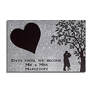 Personalizado boda cuenta atrás hecha a mano cartel/placa ...