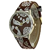 Silver Feet Print No Hour Pointers Dial Leather Strap Design Lady Watches 12 Edges and Corners Convex Prism Crystal Gold Case Women Japan Quartz Analog Stylish Casual Dress Wristwatch Girls Gifts