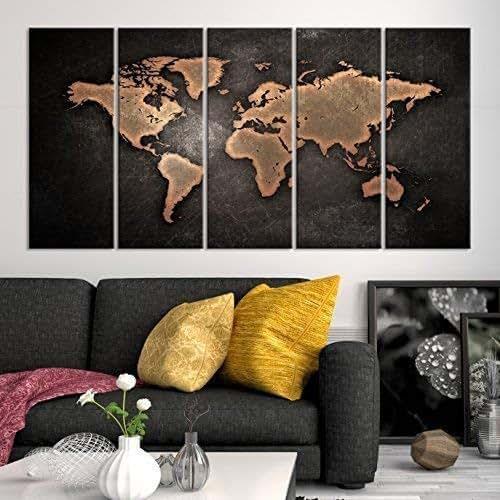 Black Fruits Splash Modern Kitchen Art Canvas Print Poster: Amazon.com: 5 Panel Black World Map Canvas Print, Brown