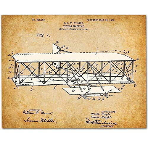 Wright Brothers Flying Machine - 11x14 Unframed Patent Print - Great Gift for Pilots