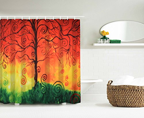 Shower Curtains For Bathroom,Shower Curtain Set Fabric With Hooks,Digital Printing Tree Of Life Waterproof Bath Curtains Exact Long Size (71x71 Inch,Polyester,Orange) (Curtains Target Orange)