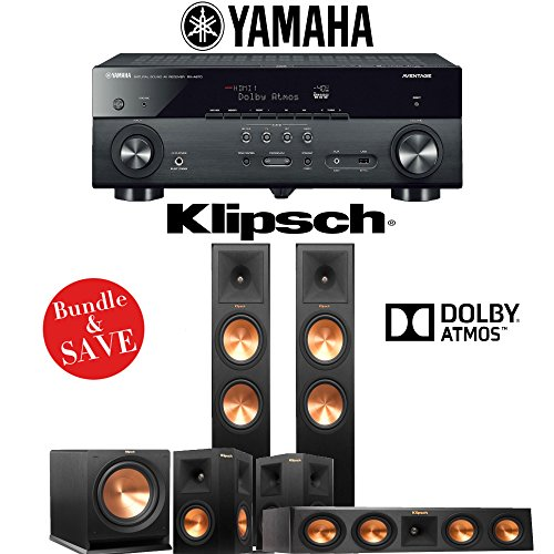 Klipsch RP-280FA 5.1-Ch Reference Premiere Dolby Atmos Home Theater System with Yamaha AVENTAGE RX-A670BL 7.2-Ch Dolby Atmos Network AV Receiver