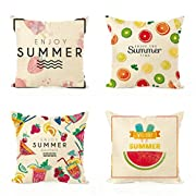 Jaytis Decorative Throw Pillow Covers Set of 4 Cotton Linen Cushion Covers 18 x 18 inch, Aloha