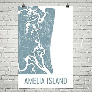 Amelia Island Florida Map.Amazon Com Modern Map Art Amelia Island Map Amelia Island Art