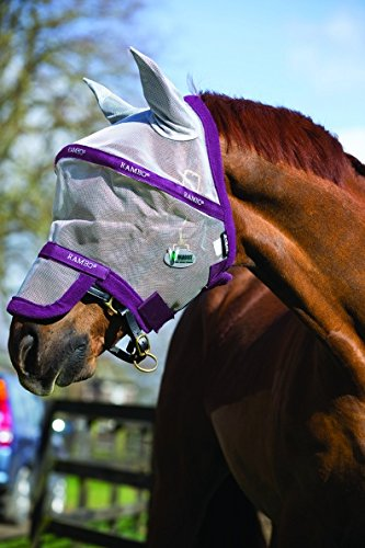 Rambo Plus Fly Mask Horse Silver/Purple by Rambo