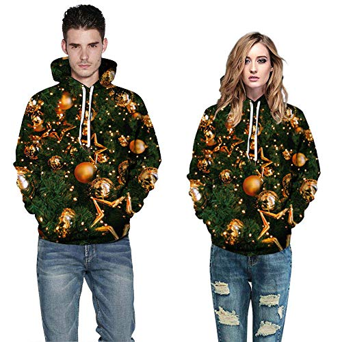 New Zlolia Men Women's Long Sleeve Hoodies Print Blouse 3D Christmas Couples Sweatshirts for $<!--$14.42-->