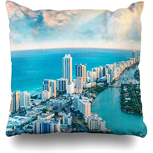 Throw Pillow Cover Cushion Case Square 18x18 Inch America Blue Aerial Helicopter View South Beach Miami Parks American Bay Vacation Home Decor