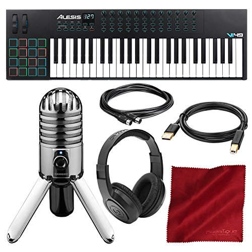 Alesis VI49 49-Key USB MIDI Keyboard & Drum Pad Controller with Samson Meteor Mic USB Microphone and Headphones Deluxe Bundle -