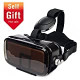 SMAVR 3D VR Immersive Headset Glasses, Virtual Reality Viewer Helmet Goggles, Private Theater for Movie & Games. Adjustable Pupil, Fit for Most Users via iOS & Android Phone within 4.7'-6.2' (Black)