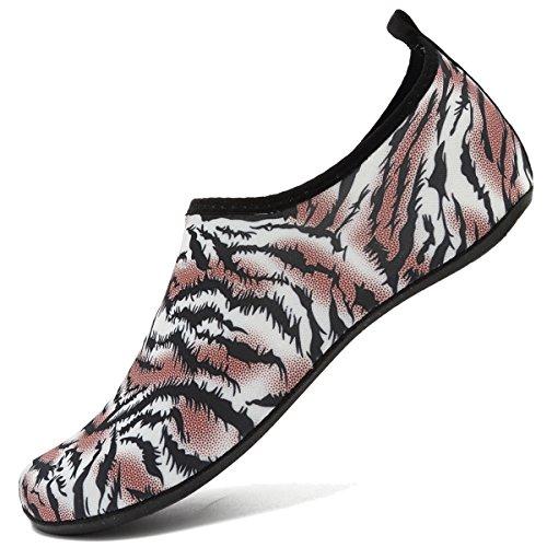ANLUKE Womens Mens Water Barefoot Shoes for Summer Swim Aqua Yoga Socks Beach Tiger Orange