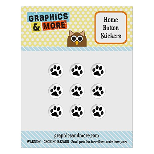 - Set of 9 Puffy Bubble Home Button Stickers Fit Apple iPod Touch, iPad Air Mini, iPhone 4/4s 5/5c/5s 6/6s Plus - Paw Print - Pet Dog Cat