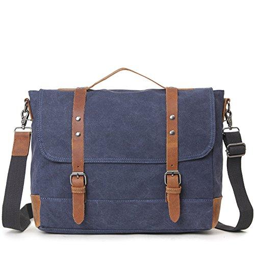 mefly bolso retro bolsa ordenador transversales Obliques multifonctionnelle maletín bolsa de lienzo, azul azul