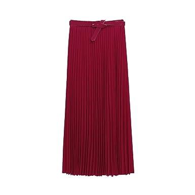 Falda larga de chifón estilo retro con tejido elástico rojo rojo ...