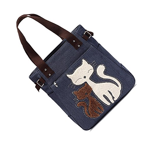 messenger TOOGOO bag Women's Women's shoulder with handbag cute shopping handbag cat canvas Blue bag R small WIW5xa6q