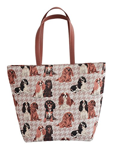 Signare Womens Fashion Canvas Tapestry Shoulder Bag in 8 Animal (Cavalier Tapestry)