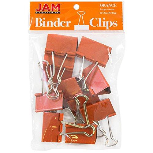 JAM PAPER Colorful Binder Clips - Large - 1 1/2 Inch (41 mm) - Orange Binderclips - 12/Pack