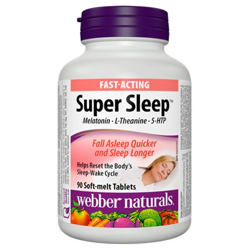 Amazon.com: Webber Naturals Super Sleep Melatonin Plus L-Theanine & 5-HTP, 90 soft-melt tablets (3): Health & Personal Care