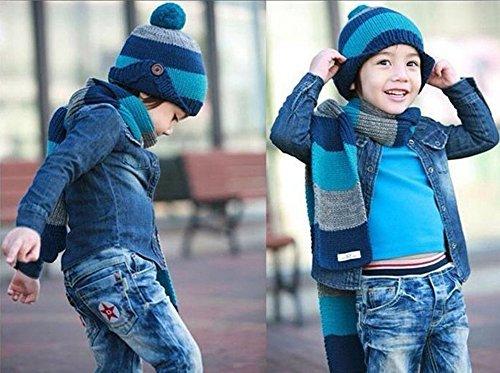 Freedi Winter Kids Boys Knitted Woolen Stripe Hat and Scarf Set Wcn541 Blue
