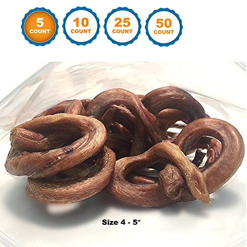 123 Treats Bully stick Pretzel for dogs   4 to 5 inch - Premium Beef chews from Free Range Grass Fed cattle - by (5)