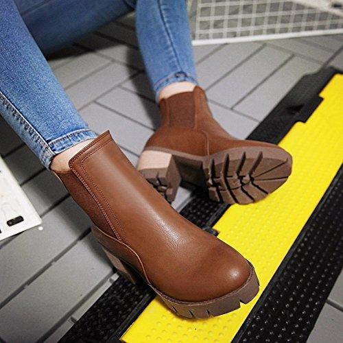 Baret Dames Pull-on Platform Mode Retro Mid Hiel Vallen Korte Laarzen Bruin