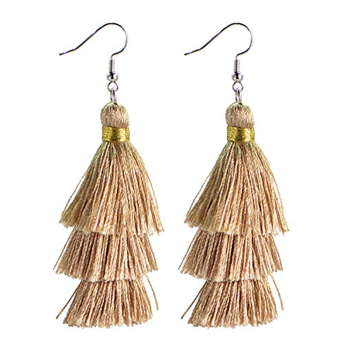 AD Beads Fashion Charm Crystal Silk Tassel 3 Layers Fan Fringe Dangle Earrings (05 Champagne)