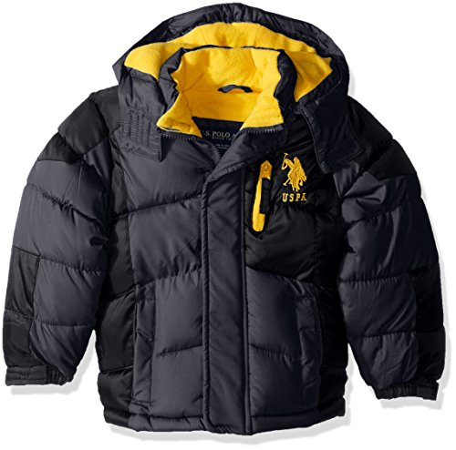 U.S. Polo Assn. Big Boys' Bubble Jacket (More Styles Available), Charcoal/Yellow Logo a, 14/16