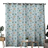 NUOMANAN Customized Curtains Baby,Infant Head with Balloons Pacifiers and Milk Bottles Newborn Inspired,Baby Blue Turquoise Tan,Blackout Draperies for Bedroom Living Room 84''x100''