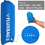 FLUXBAG Pro 140L - Super Fast Outdoor Air Pump. 3-in1 Multiple use: Pump Sack, XXL Dry Bag, Beach Pillow (Pro: 140L, 9 adapters)