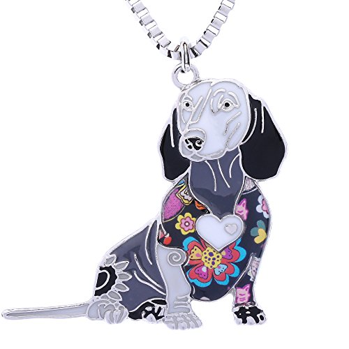 Luckeyui Novelty Dachshund Gifts Necklace for Women Personalized Dog Lovers Pets Pendants Jewelry
