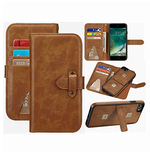 iPhone 8 Wallet Case,iPhone 7 leather Purse Hynice iPhone 6S Magnetic Detachable Shockproof Cover With Kickstand Strap 6 Card Holder Slots for Women Men Fit iPhone8/iPhone7/iPhone6S 4.7 (6 Card-Brown) by Hynice