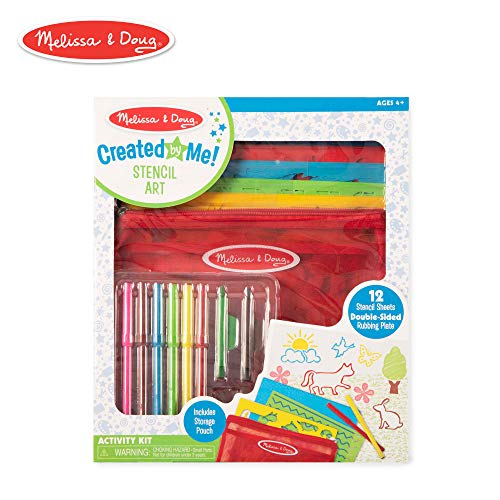 Melissa & Doug Created by Me! Stencil Art Coloring Activity Kit in Storage Pouch -- 170+ Designs, 6 Markers, 2 Crayons, - Art Kids Stencils