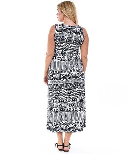Allora Taille Plus Les Femmes Robe Maxi Géométrique Blanc
