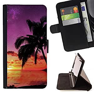 For Motorola Moto E 2nd Generation - Beach Sunset Purple Sky Nature Summer /Leather Foilo Wallet Cover Case with Magnetic Closure/ - Super Marley Shop -